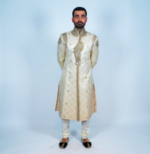 Silk Cream Embroidered Sherwani