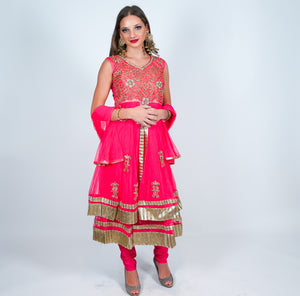 Silk Cerise Embroidered Anarkali Suit