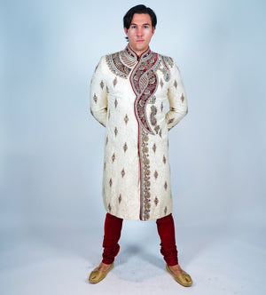 Silk Off White Embroidered Sherwani