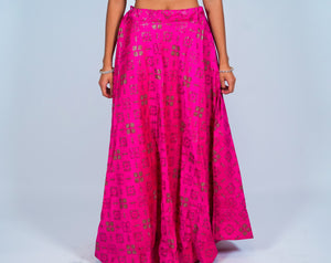Silk Fuchsia Brocade Skirt