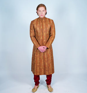 Silk Copper Embroidered Sherwani