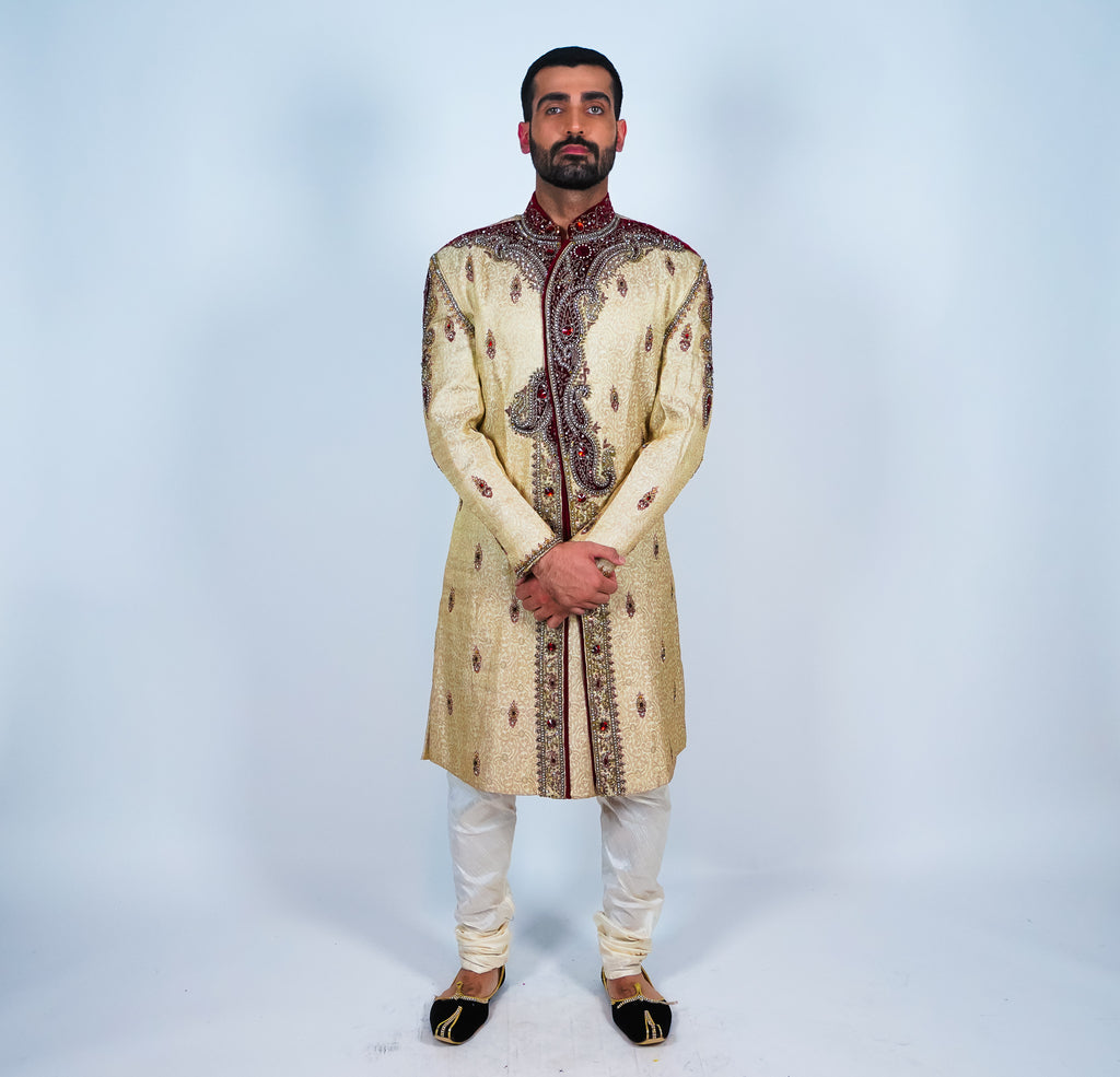 Silk Gold Hand Beaded Sherwani