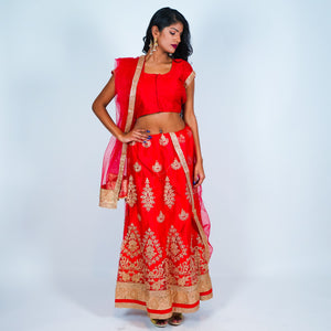 Silk Red With Gold Work Lehenga