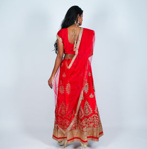 Silk Red With Gold Work Lehenga Set
