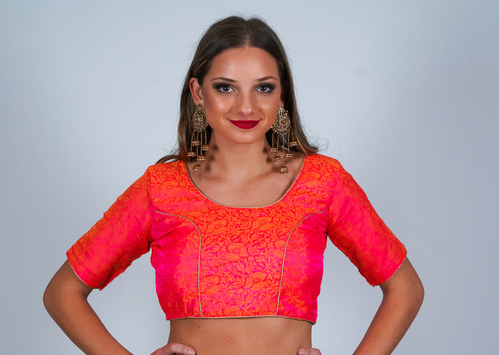 Bright Pink Brocade Silk Crop Top