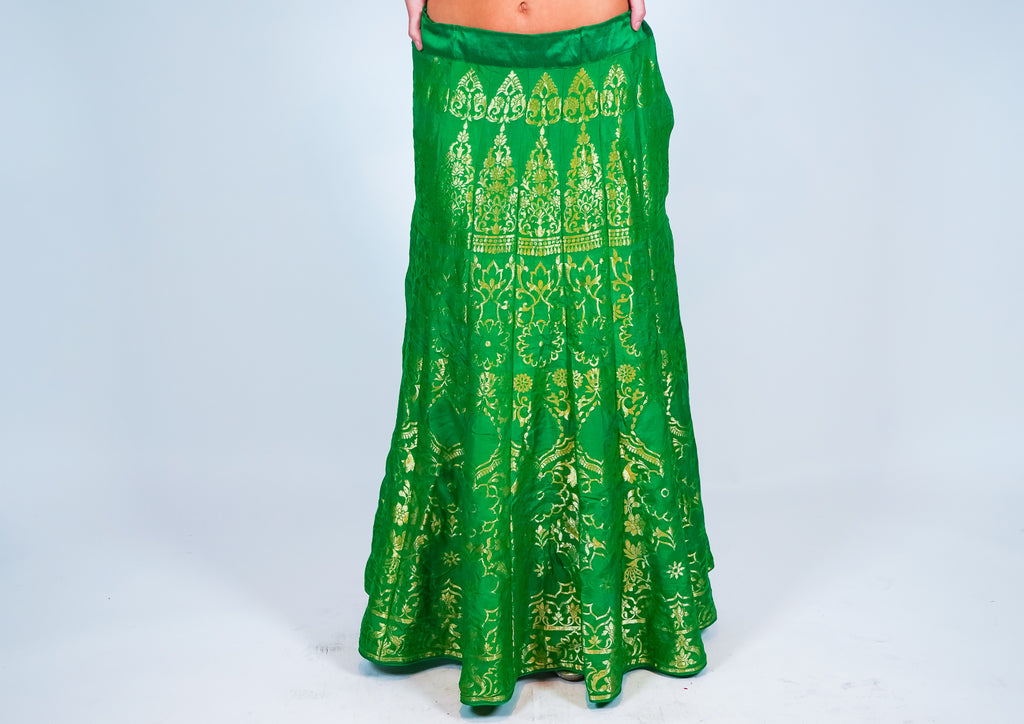 Silk Olive Green Kalidaar Brocade Skirt