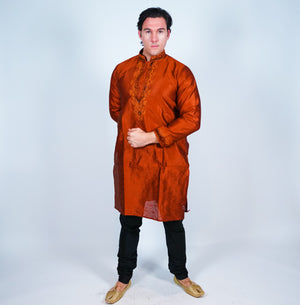 Burnt Orange Silk Men's Kurta