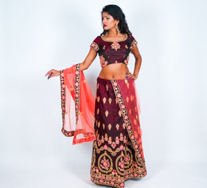 Dark Wine Hand Embroidered Silk Lehenga