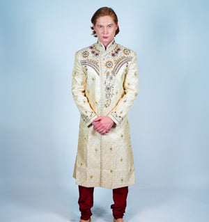 Silk Cream Hand Beaded Sherwani