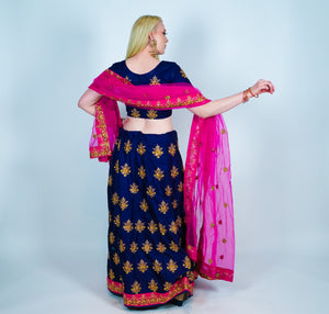 Silk Royal Blue Heavy Embroidered Lehenga