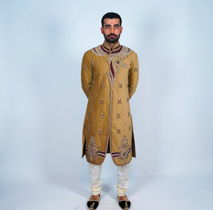 Suede Peanut Brown Embroidered Sherwani