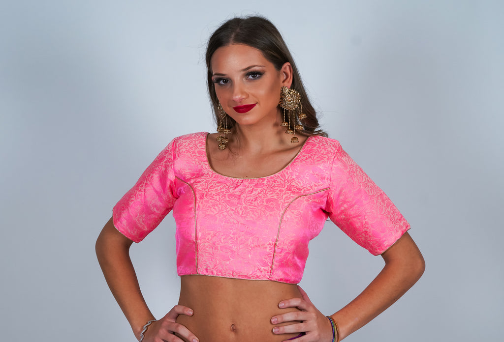 Pinkish Silk Light Brocade Crop Top
