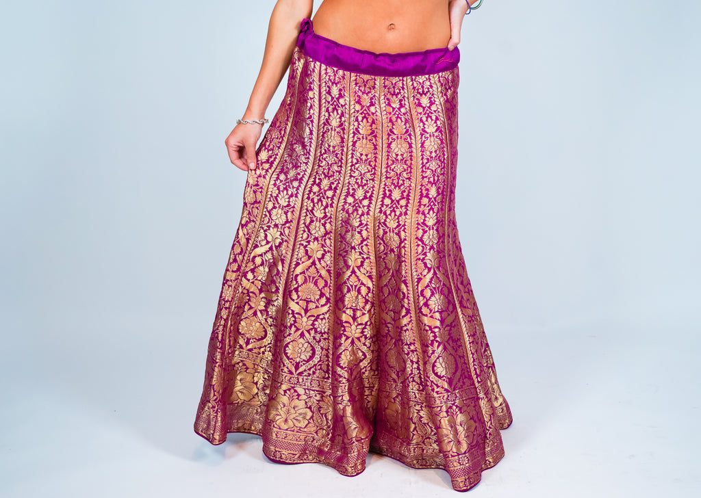 Silk Purple Kalidaar Brocade Skirt