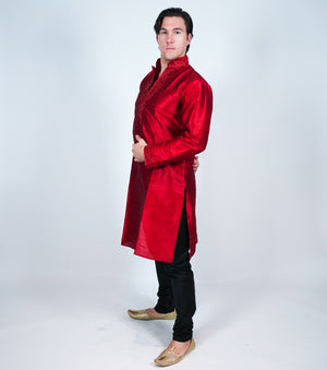 Silk Maroon Embroidered Men's Kurta