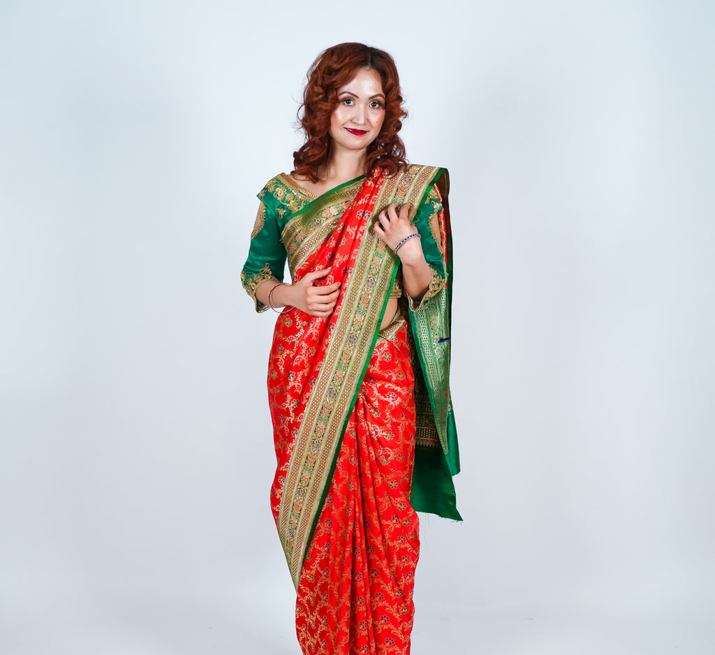 Orange Green with Gold Accents Banarsi Silk Saree