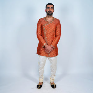 Silk Brocade Rust Orange Embroidered Angrakha Style Short Jacket