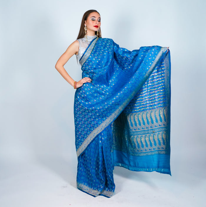 Banarsi Silk Blue Saree