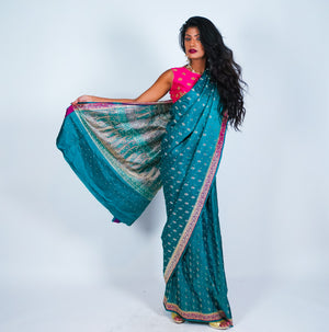 Teal Blue Banarsi Silk Saree