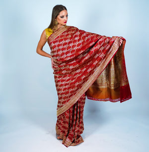 Maroon Red Banarsi Silk Saree with Gold Accents
