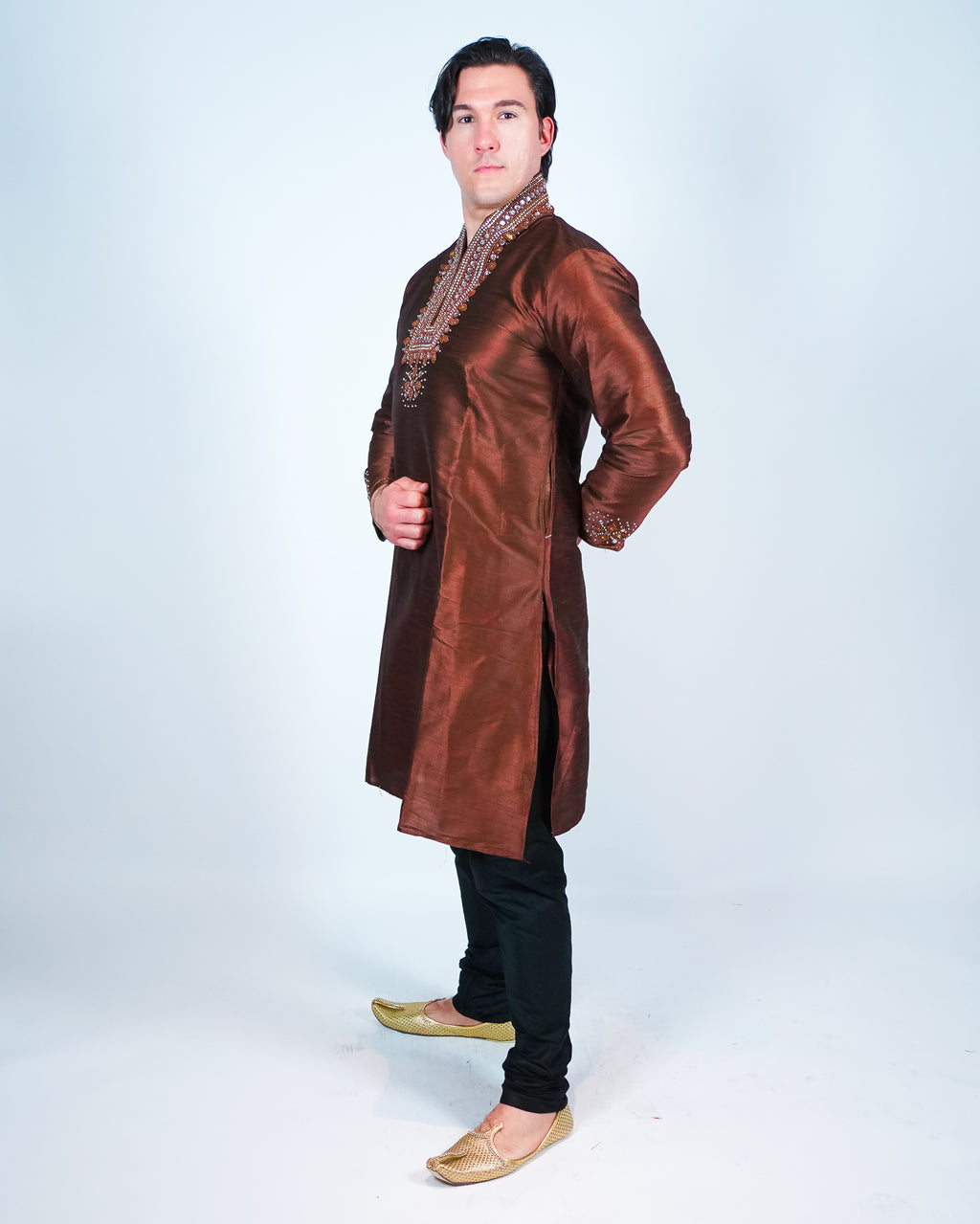 Brown Silk Embroidered Men's Kurta