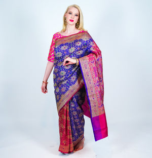 Multi Color Silk Banarsi with Gold accents Saree