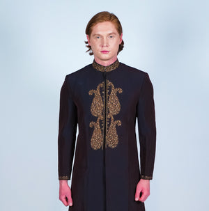 Silk Mocha Iridescent Embroidered Sherwani