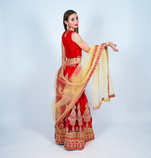 Silk Embroidered Auburn Red Lehenga