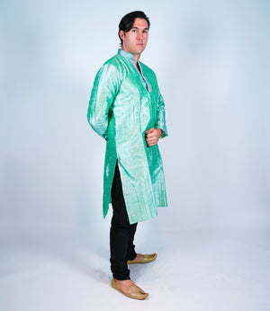 Silk  Mint Green Pintuck Men's Kurta