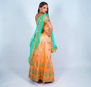 Silk Peachy With Mint Green Scarf Embroidered Lehenga