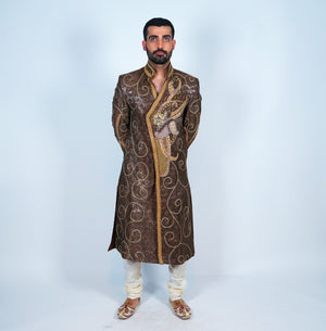 Silk Mocha Embroidered Sherwani