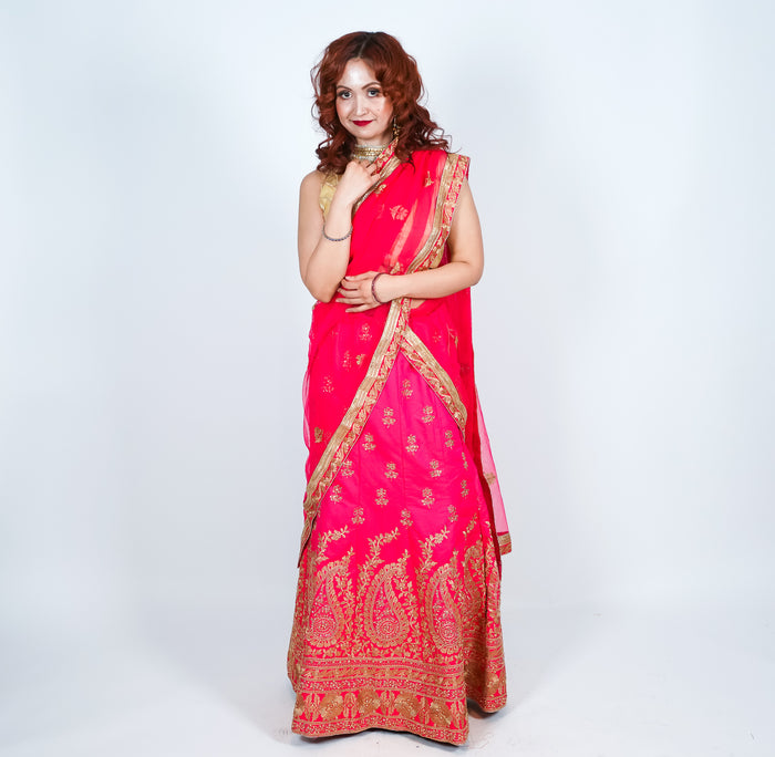Imperial Red Silk Embroidered Lehenga