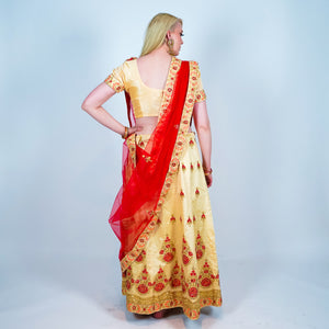 Silk Gold With Red Embroidered Lehenga