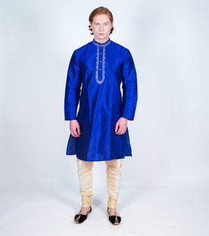 Silk Royal Blue Embroidered Men's Kurta