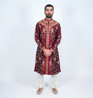 Silk Maroon Heavy Embroidered Men's Kurta