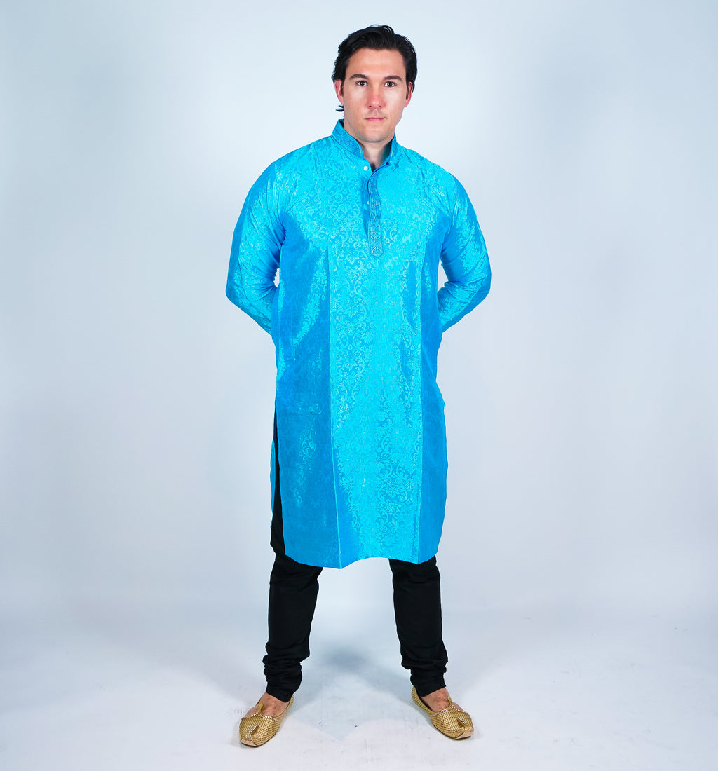 Silk  Blue Men's Kurta
