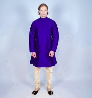 Silk Two Tone Purple Men's Kurta