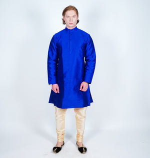 Silk Plain Royal Blue Men's Kurta