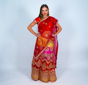 Tri Color Embroidered Silk Lehenga