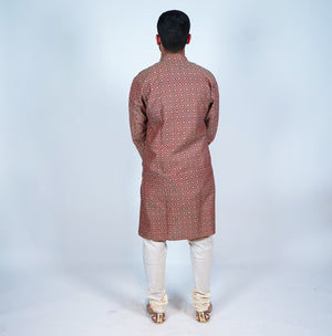 Cotton Khaki Brown Checkered Men's Kurta