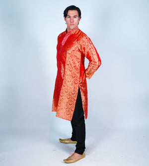 Silk Rust  Orange Men's Kurta