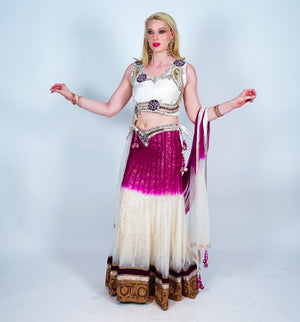 Off White With Fuchsia Silk Embroidered Lehenga