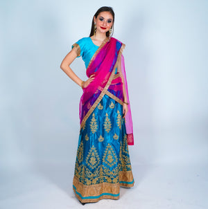 Aqua Blue Silk Embroidered Lehenga