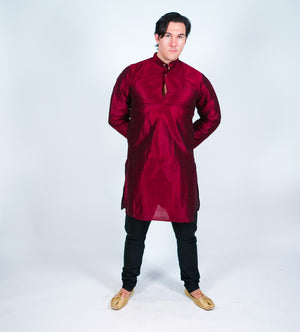 Silk Plain Maroon Men's Kurta