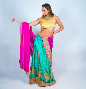 Teal Silk Embroidered Lehenga