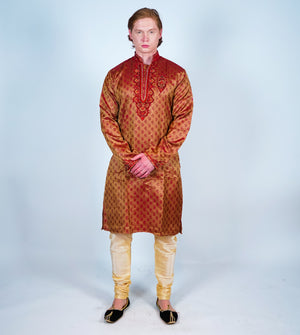 Dark Amber Silk Men's Kurta