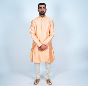 Cotton Silk Apricot Men's Kurta