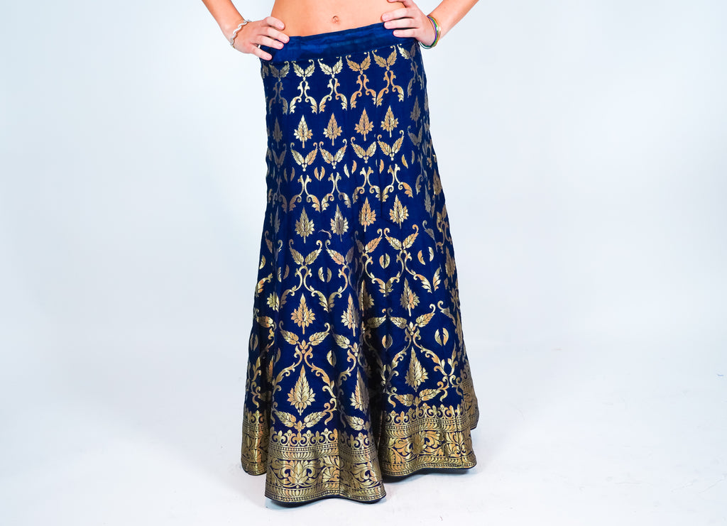 Silk Royal Blue Kalidaar Brocade Skirt