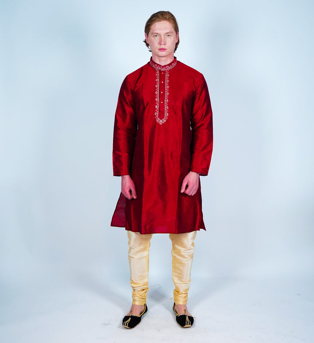 Silk Maroon Men's Kurta