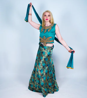 Metallic Teal Silk Brocade Lehenga