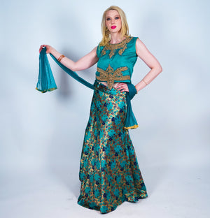 Metallic Teal Silk Brocade Lehenga Skirt